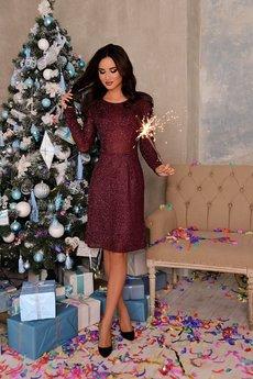 Бордовое блестящее платье Open-Style